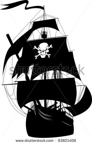 Silhouette Of A Pirate Ship With The Image Of A Skeleton On The Sail Pirate Ship Drawing Pirate Ship Pirate Art