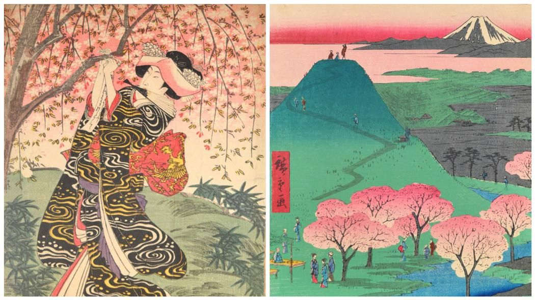 Image Result For Famous Japanese Cherry Blossom Paintings Cherry Blossom Painting Japanese Painting Modern Graphic Art
