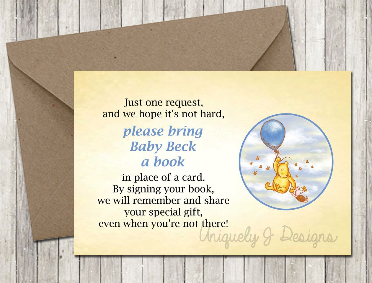 Classic Pooh Book Request Card | Printable Baby Shower Invitation ...