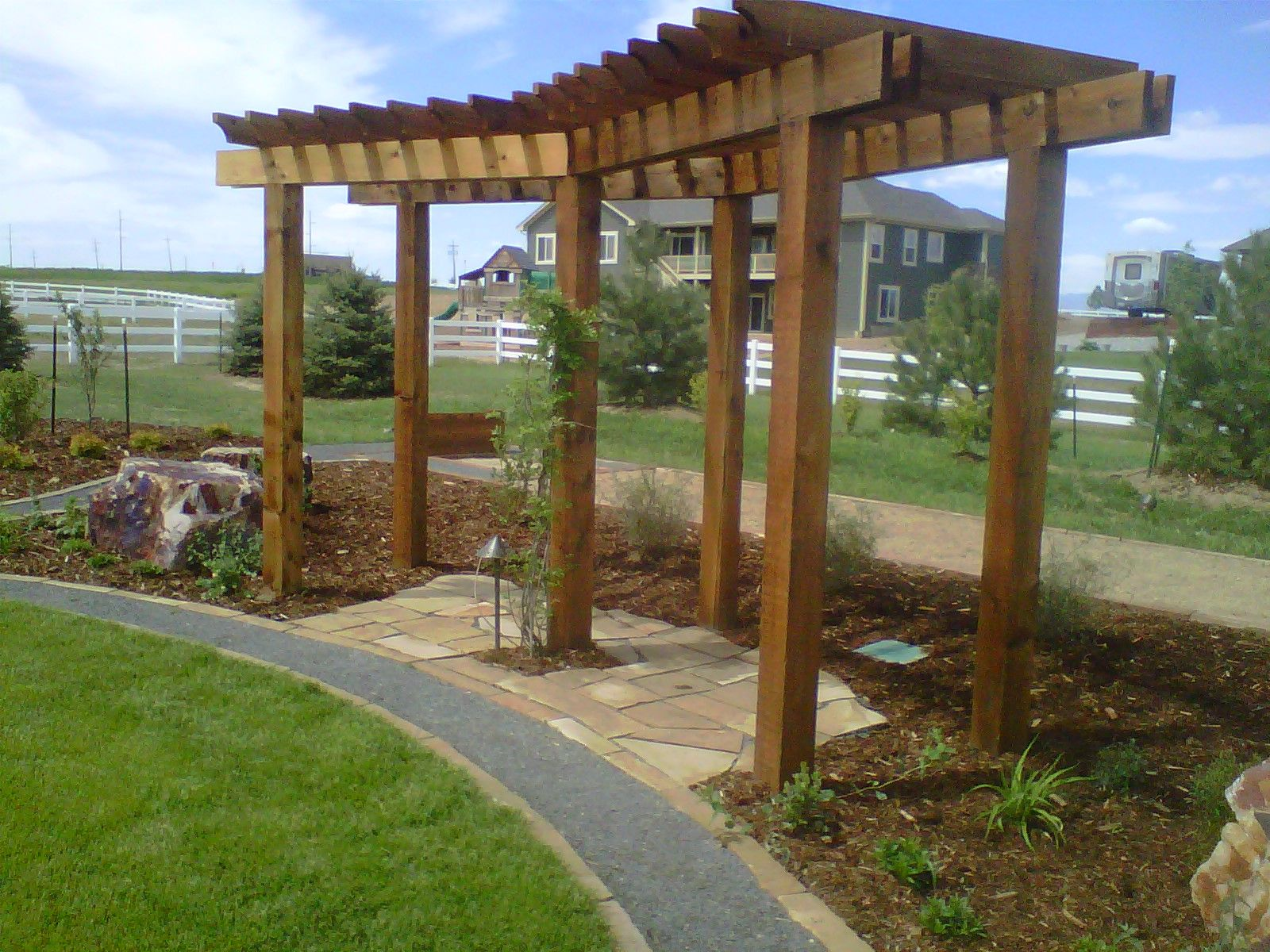 Wood Arbor Outdoor Rooms Landscape Focal Point