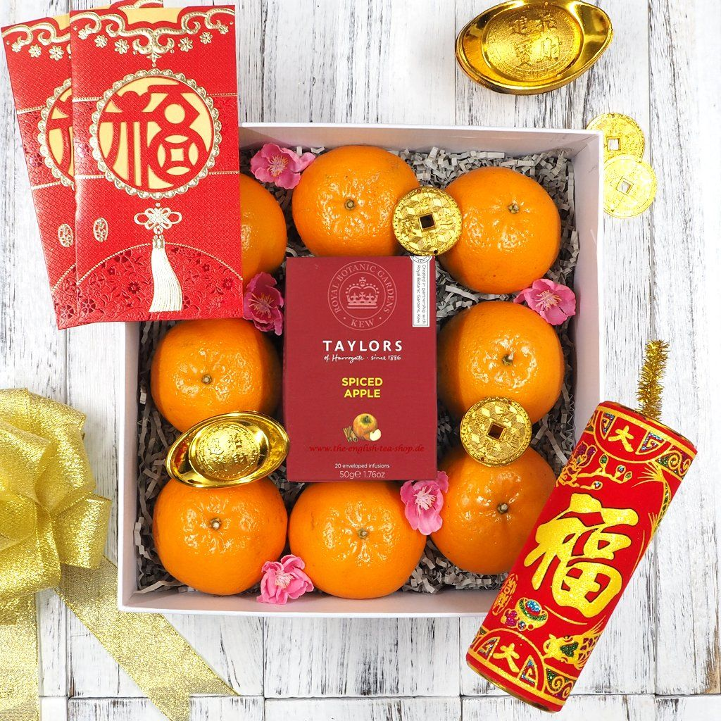 Thinking Of A Chinese New Year Gift For Tea Lovers Our Blossoming Gold Hamper Is Packed With 8 Mandarin Oranges Which Means Wealth Or Fortune And A Box Of Prem