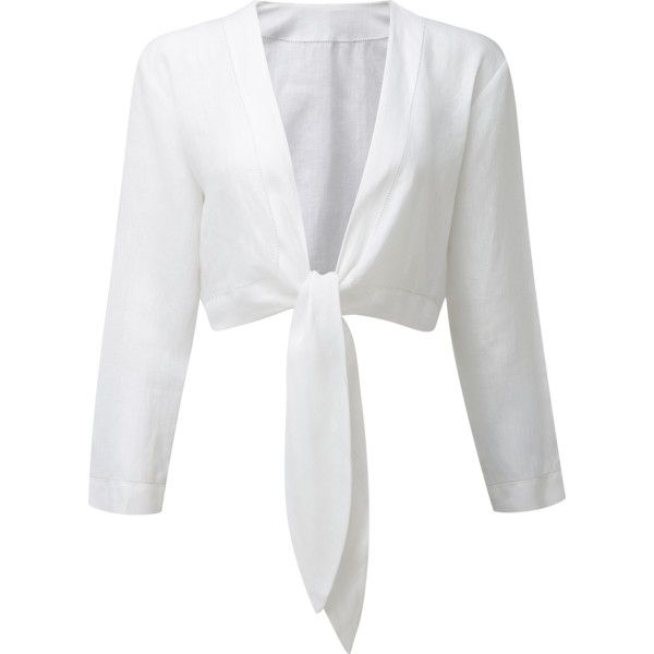 TIE WHITE LINEN BLOUSE (€335) ❤ liked on Polyvore featuring tops, blouses, crop top, shirts, white tie-neck blouses, white linen blouse, white top, cropped tops and white crop shirt