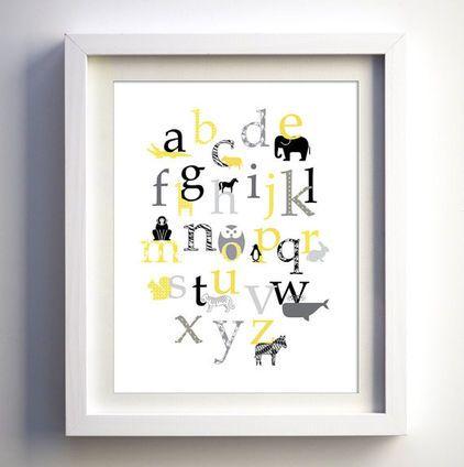 nursery alphabet wall art. - love the yellow, gray, and black