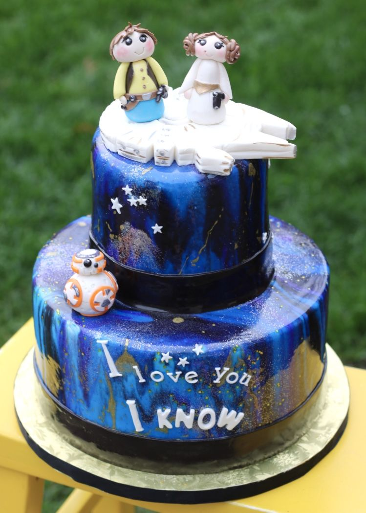 Star Wars Themed Bridal Shower Cake Mirror Glaze Galaxy Cake