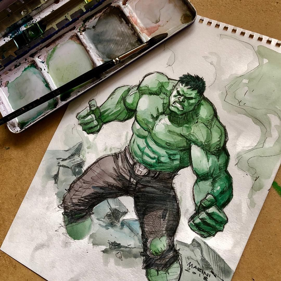 Enrico Marini On Instagram Hulk Watercolor Just For Fun