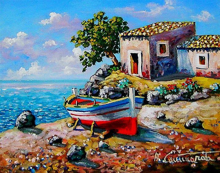 barca con case sul mare | Arte del colore, Dipingere idee ...