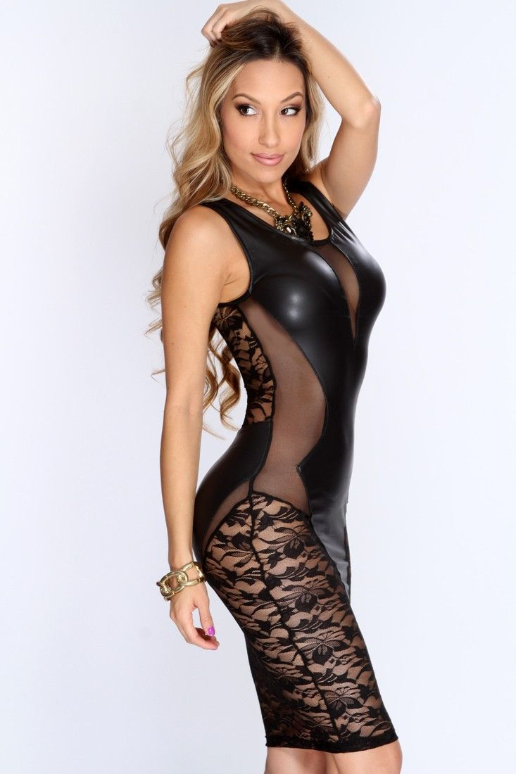 Leather Dress Women Sleeveless Sexy Lace Mesh Dress Faux Leather Shapers