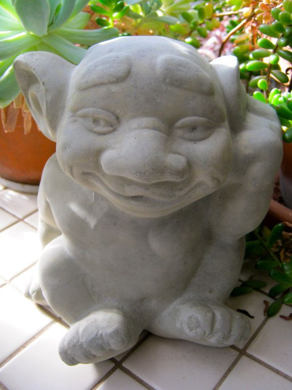Troll Statue, Cute Gargoyle Cement Figure, Concrete Garden Decor