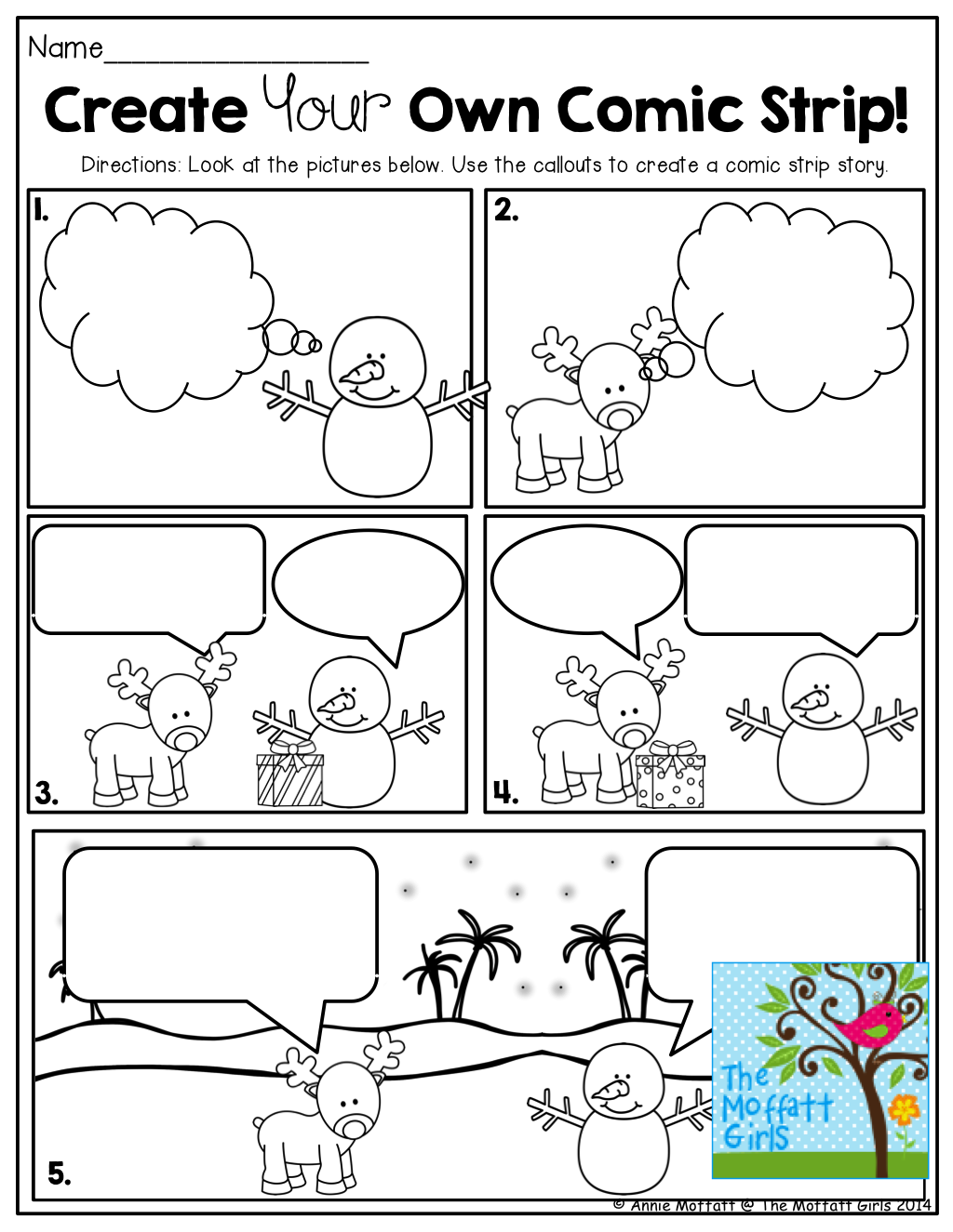 Design a cartoon strip for Printable blank comic strip template for kids