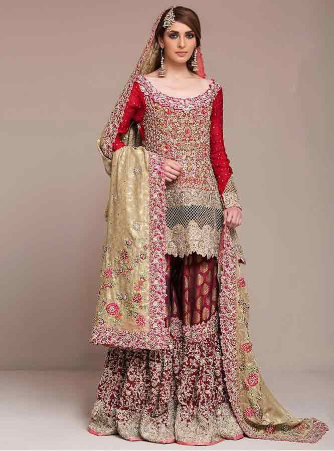 e5b1e1c772 beautiful red and golden latest bridal wedding lehenga dress designs 2017  for barat day