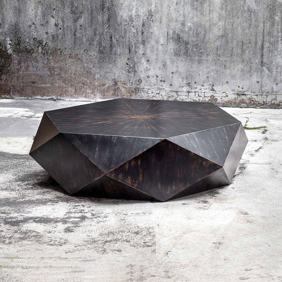 Volker Coffee Table Worn Black Round Wood Coffee Table Geometric Coffee Table Black Coffee Tables [ 900 x 900 Pixel ]