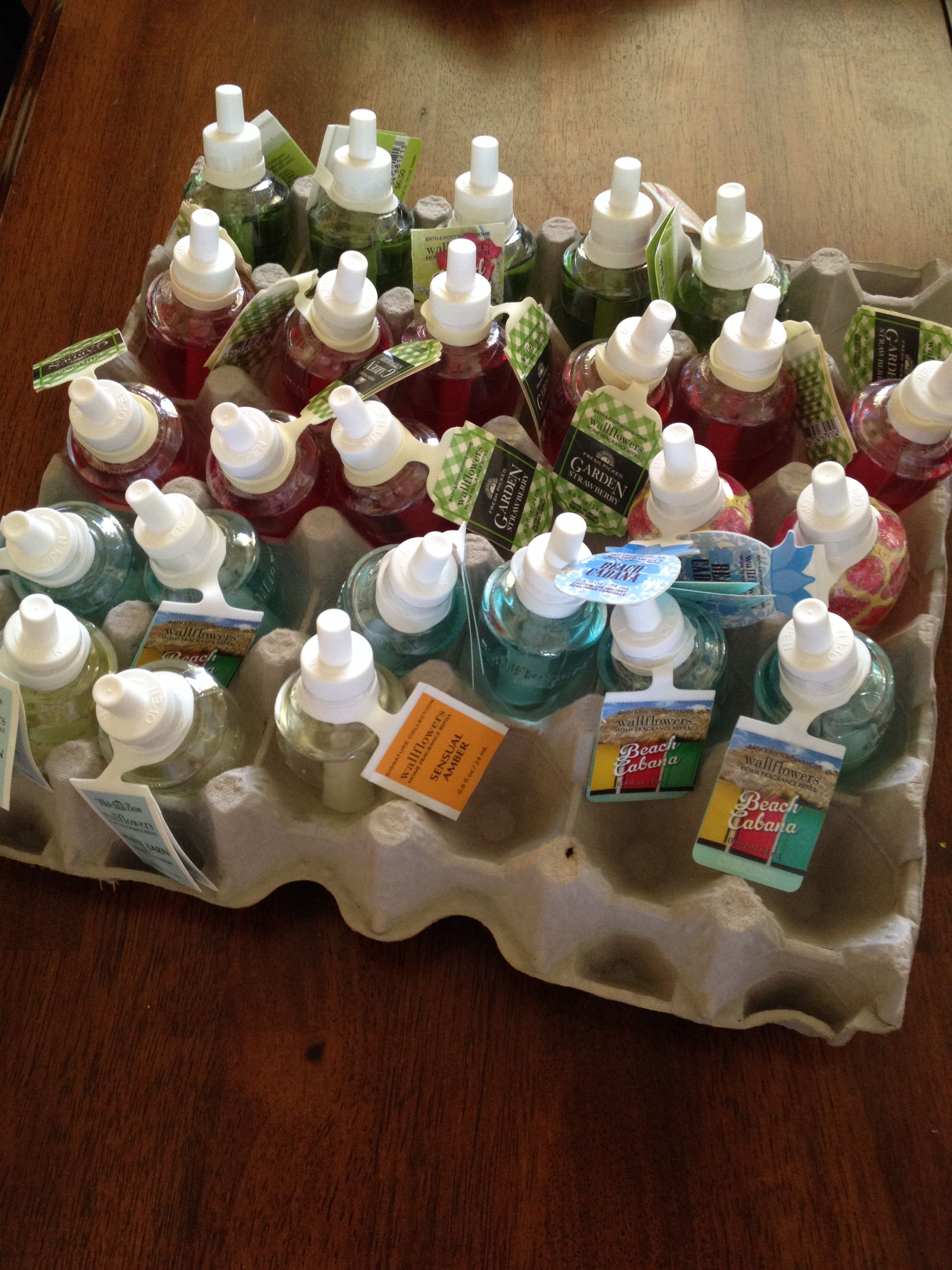 Bath Body Works Wallflower Storage Put Them In An Egg Carton To Keep Them From Tipping Over And Leaking K Bath And Body Candles Storage Bath And Body Works