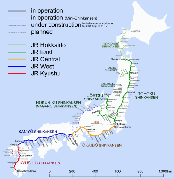 Map of Shinkansen Train lines Japan Japan trip Pinterest Japan