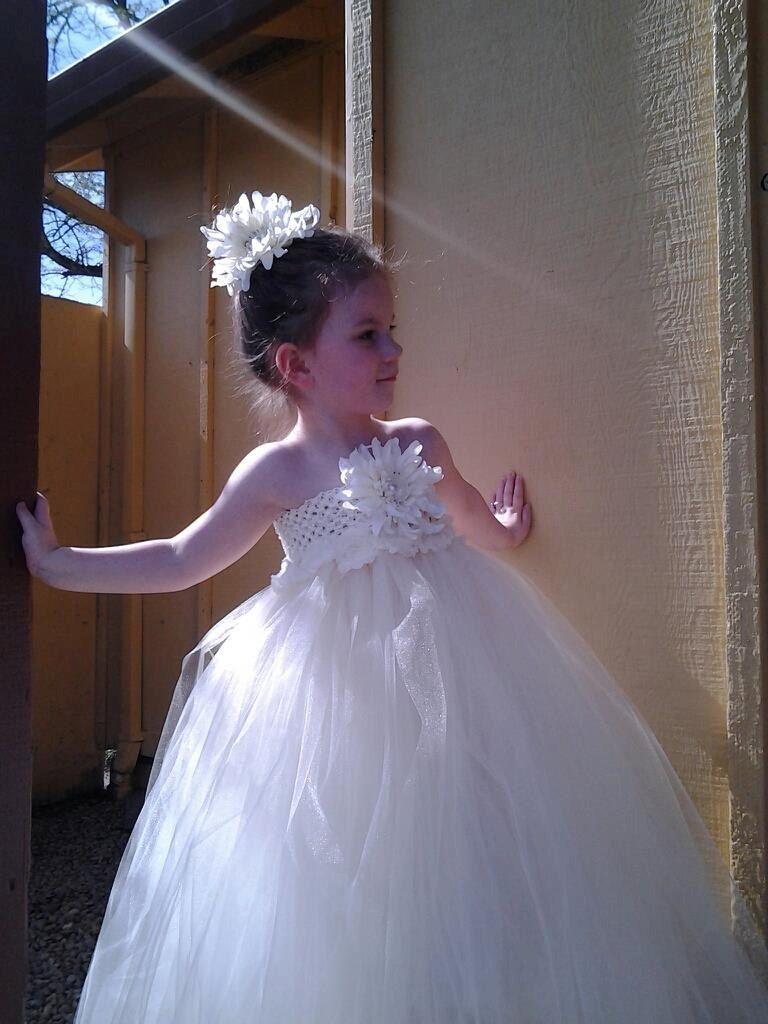 Ivory flower girl tulle dress tutu dress via etsy