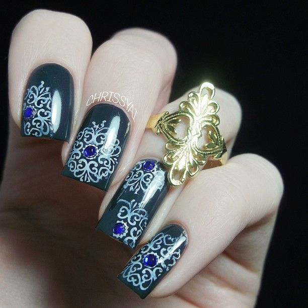 Base Color Is Lvx Dark Matter Stamping Is With Mash Nail Art
