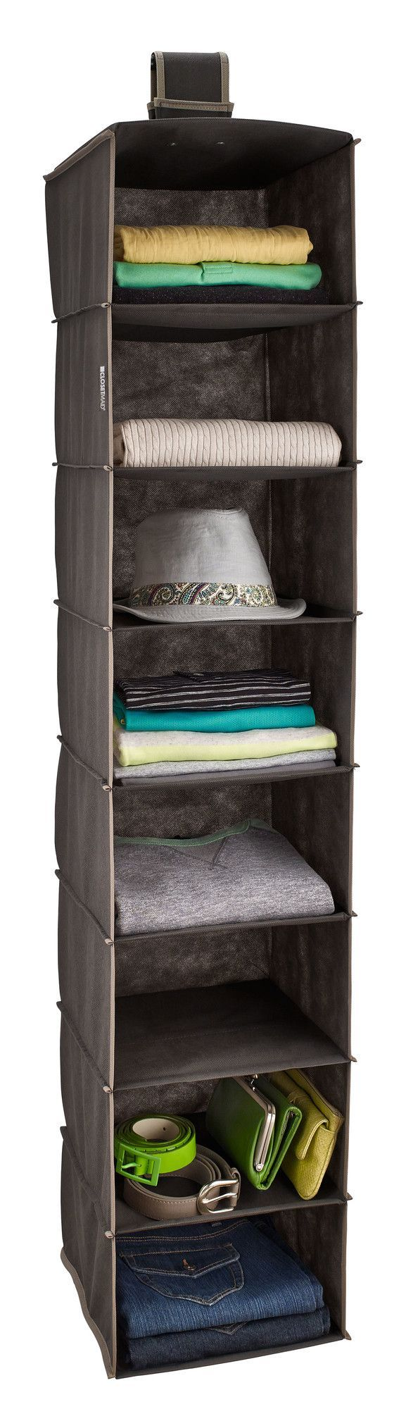 Features:  8 Shelf Organizer Maximizes Vertical Hanging Space.  Versatile  Hook And Loop Fastener Can Hang On A Wire Shelf Or Standard Closet Rod.