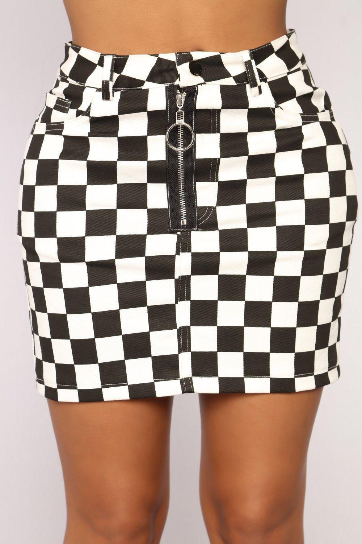 c10bc01e0e Kira Checkered Skirt - Black/White | Bottoms | Checkered skirt ...