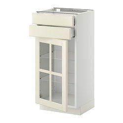 METOD / MAXIMERA Underskab med 2 skuffer/vitrinelåge - Bodbyn råhvid, hvid - IKEA