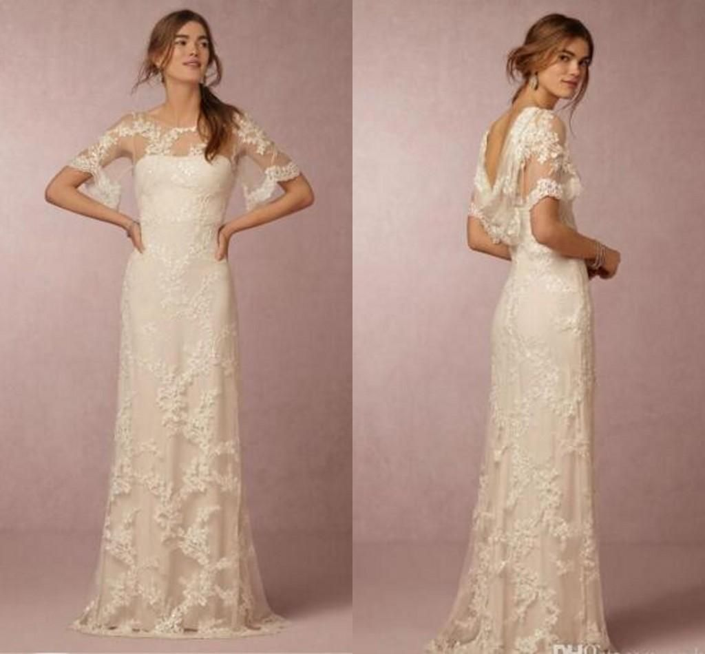 Summer lace wedding dresses with sleeves bridal gowns cheap new