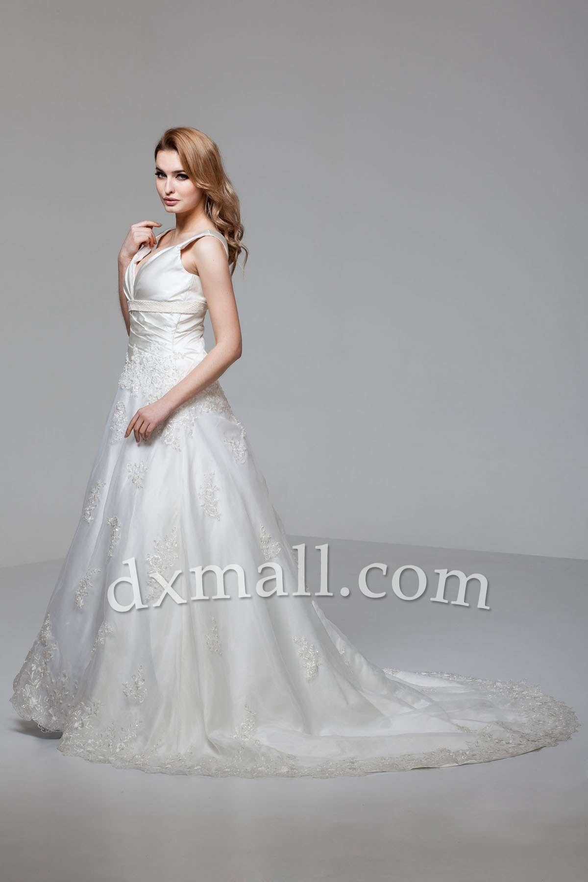 Drop Waist Wedding Dresses V-neck Court Train Organza Satin Ivory ...