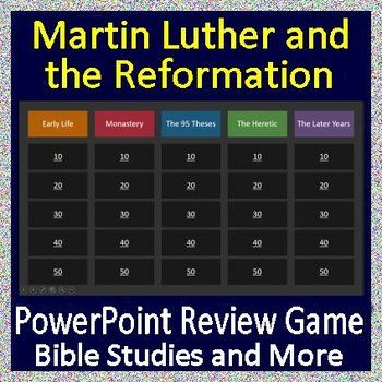 martin luther and the reformation review game education middle  this is a powerpoint jeopardy style review game for martin luther and the reformation the 95 theses it is perfect for homeschool sunday school