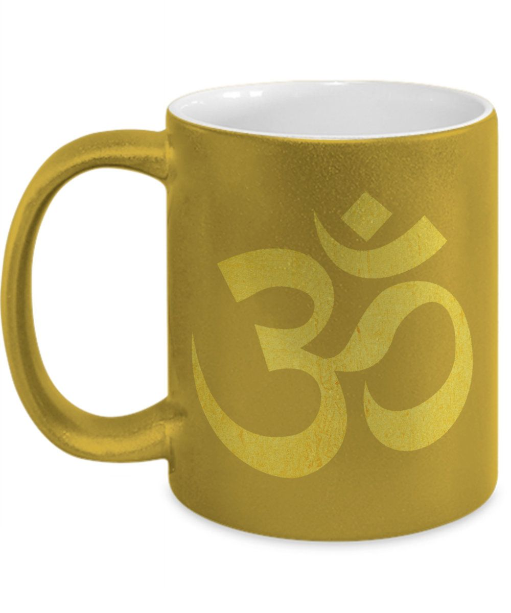 Om chant hindu Metallic Gold Mug Indian coffee mug Yoga ...