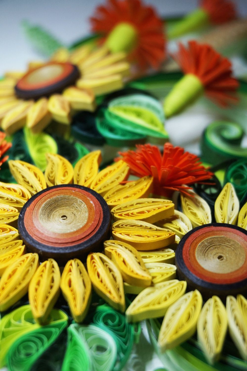 Handmade paper quilling sun flowers, framed in shadow box, birthday ...
