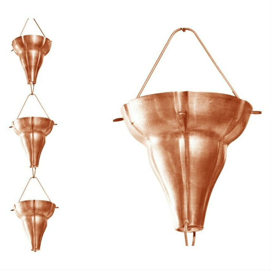 Copper 8 5 Ft Floral Funnel Rain Chain Gutter Downspout Fashion Home Garden Homedcor Otherhomedcor Ebay Link Rain Chain Downspout Copper Rain Chains