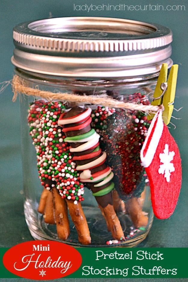 Mini Holiday Pretzel Stick Stocking Stuffers