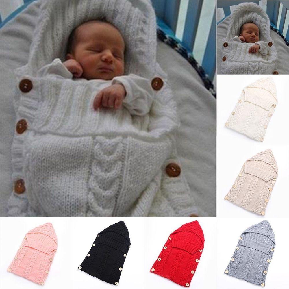 Newborn Infant Baby Soft Knit Crochet Wool Sleep Swaddle Play Wrap ...