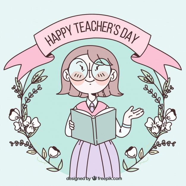 Download Happy Teacher S Day In Pastel Colours With A Flower Wreath For Free In 2020 Happy Teachers Day Teachers Day Pastel Colors