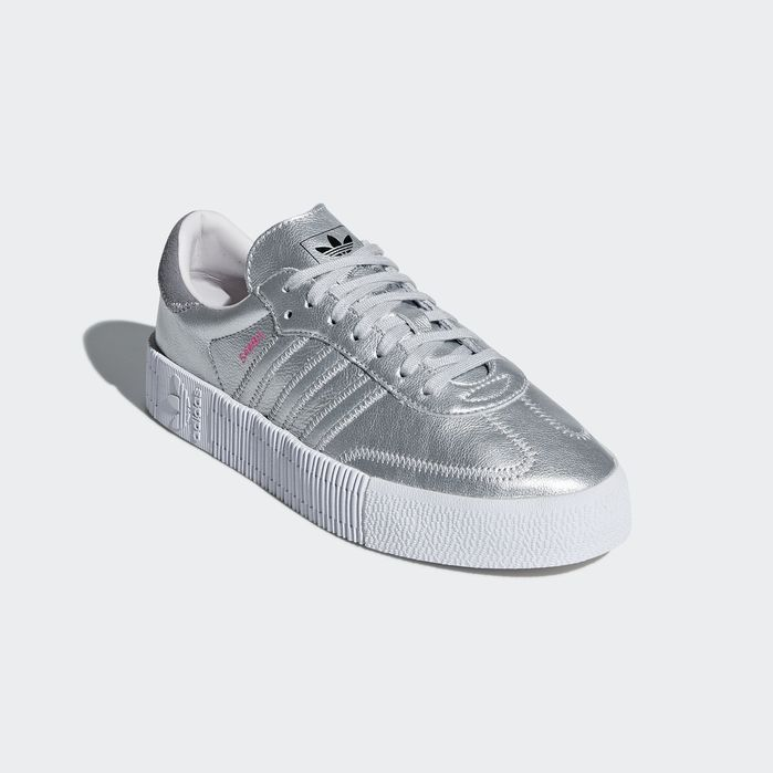 new concept c62a4 266cb Samba Rose Shoes Silver Metallic 10.5 Womens Soccer Silhouette, Adidas  Samba, Silver Shoes,