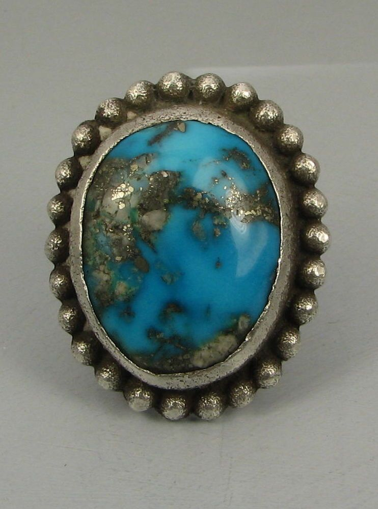 Hvy Kewa ANTHONY LOVATO Morenci Turquoise Ring w/Raindrops
