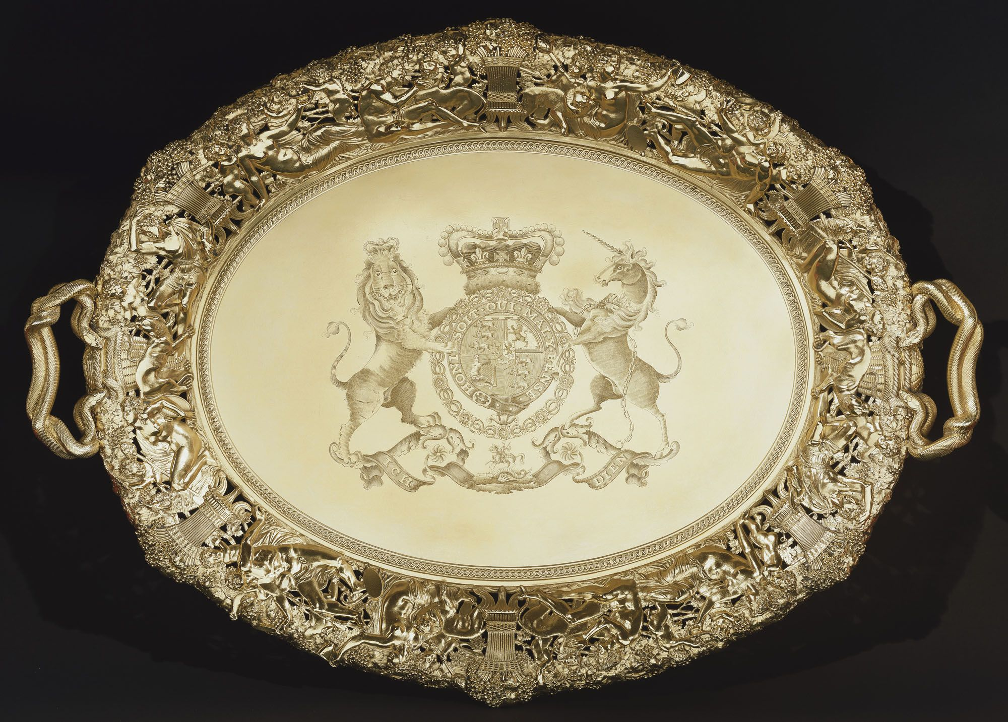 1812 silver gilt tray with the engraved Royal coat of arms of the ...