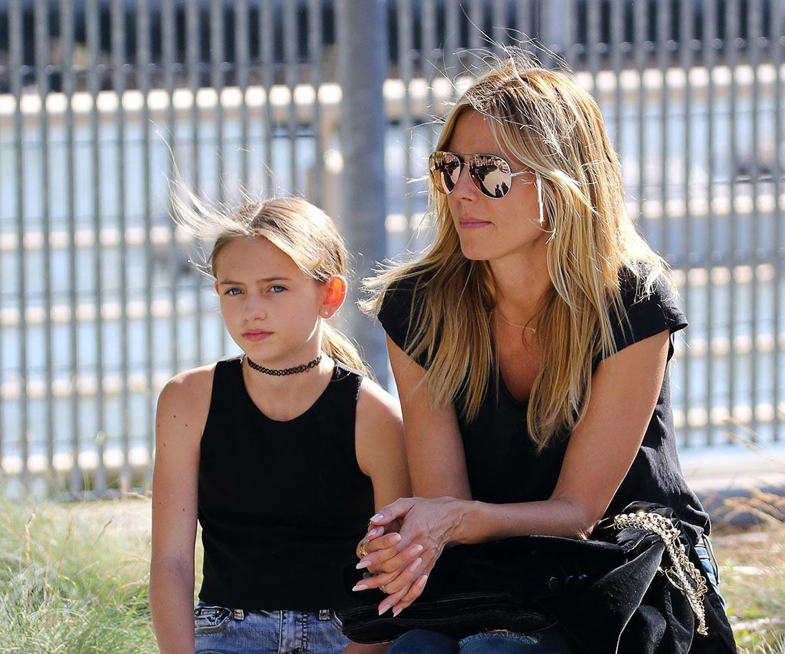supermodel heidi klum and her gorgeous 12 year old daughter leni whose father is flavio. Black Bedroom Furniture Sets. Home Design Ideas
