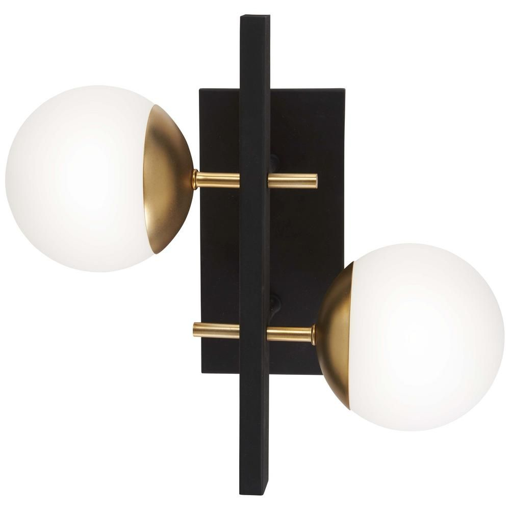 Brick Accent Wall Gold Fixtures: George Kovacs Alluria 2-Light Weathered Black With Autumn