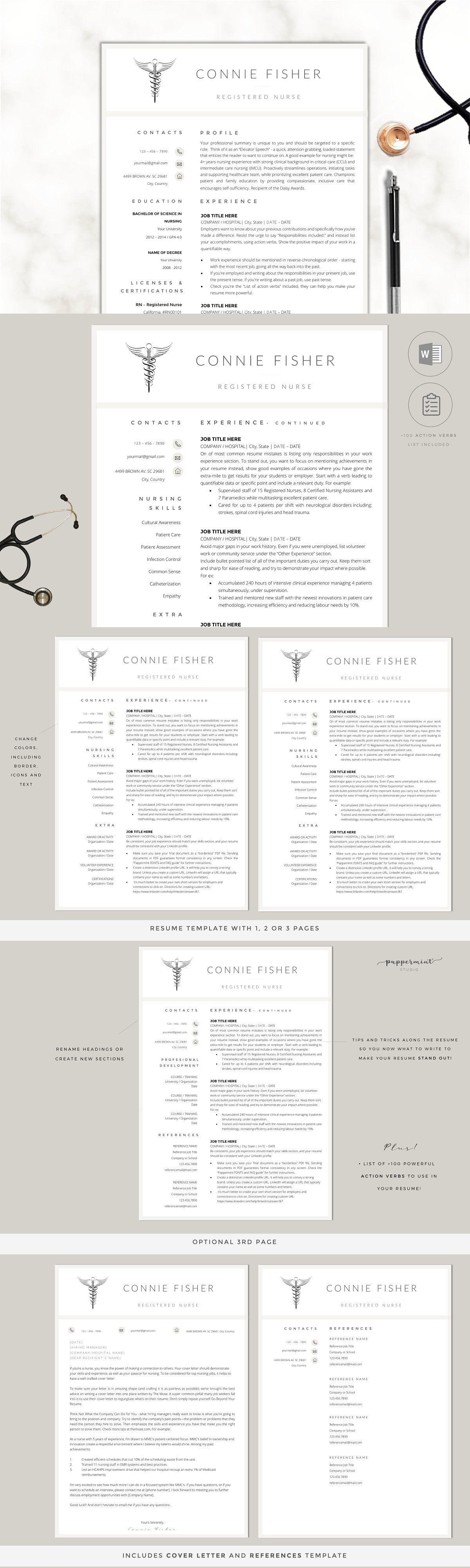 Nurse Resume Template CV in 2020 Nursing resume template