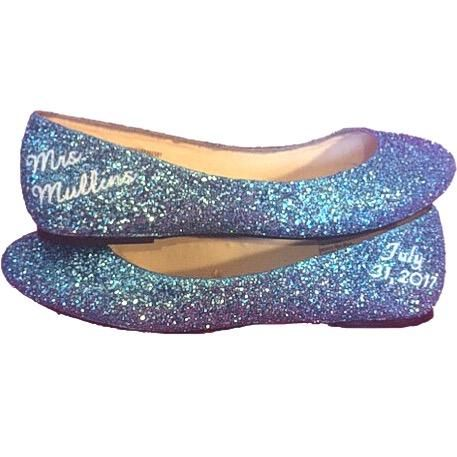 aacea84d5909af Womens Sparkly Cinderella Blue white Glitter ballet Flats shoes  Personalized wedding bride
