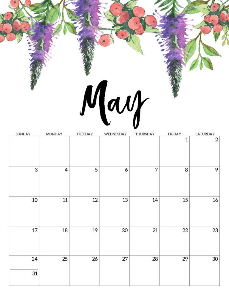 Free Printable Calendar 2020 - Floral Free Printable Calendar
