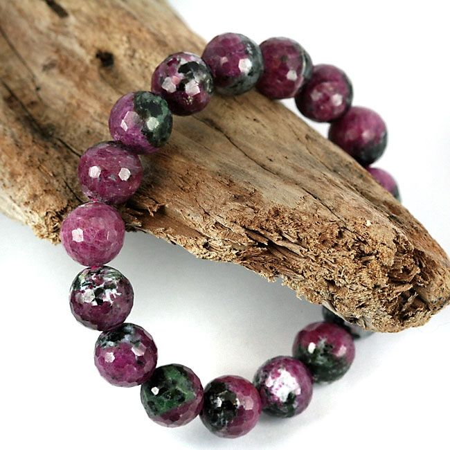 11mm Faceted Natural Ruby Zoisite Gemstone Bead Bracelet Untreated Real