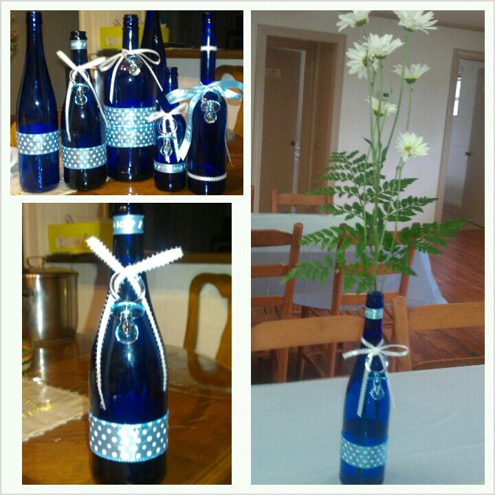 DIY Baby Shower Centerpieces. Recycled Wine And Beer Cobalt Bottles. Using  Dollar Store Ribbon