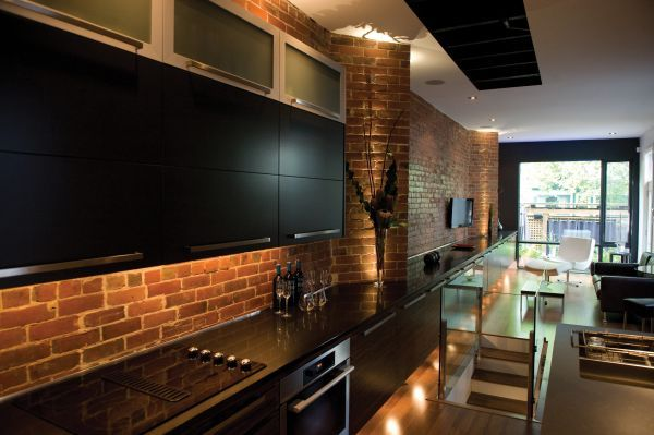 Black Kitchen Walls brick wall in kitchen design | modern kitchen in red and black