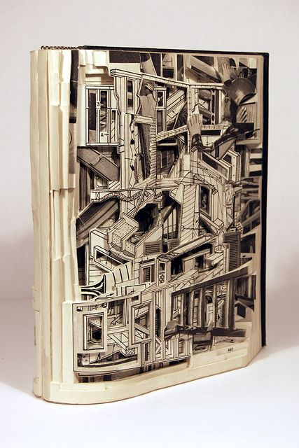 "Brian Dettmer Carpentry and Building Construction 2007 Altered Book 9-1/2"" x 8-1/2"" x 2-5/8"" Image Courtesy of the Artist and MiTO Gallery"