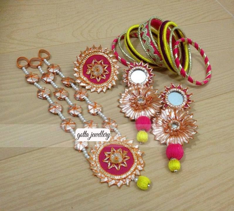 Buy Mehndi Flower Jewellery : Gota jewelry for mehndi bridal