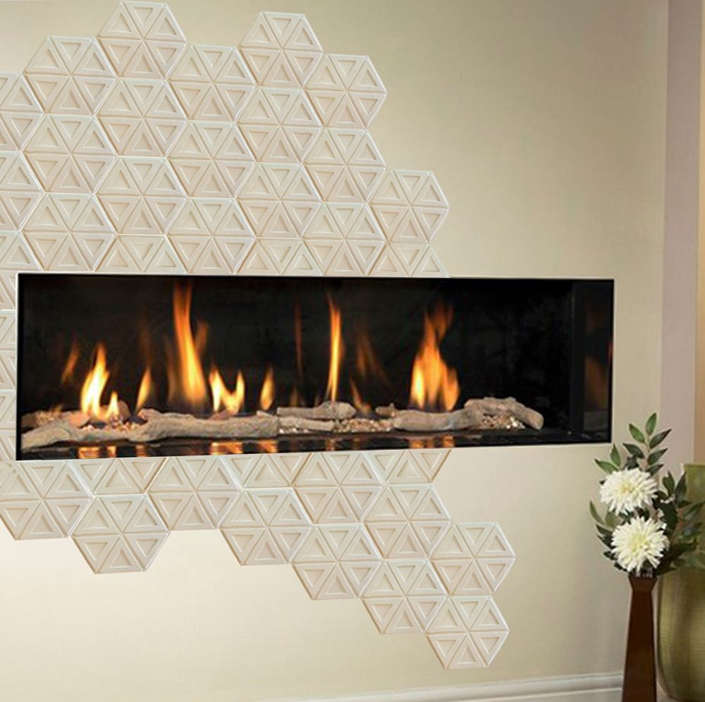 Modern Fireplace With Hexagon Tiles
