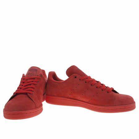 Hombre adidas formadores rojo Stan Smith Suede formadores adidas zapatos rojos Pinterest 17e18c