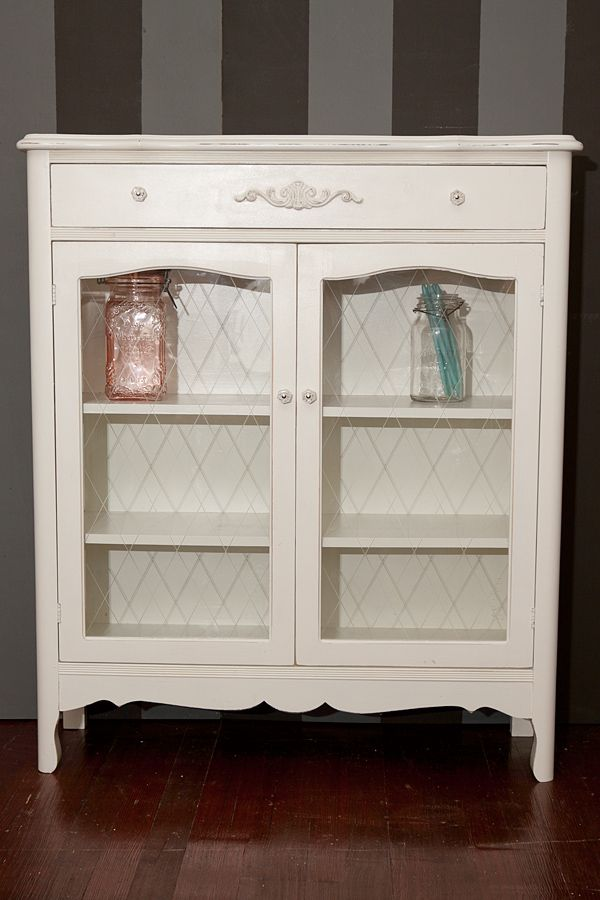 Small French Cabinet With Glass Doors | SOLD*Ivory White Small China Cabinet  Or Bookcase | White Wave Vintage