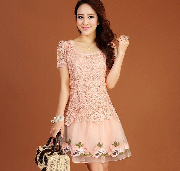 Scoop Neck Short Sleeves Lace Splicing Sweet Style Polyester Dress