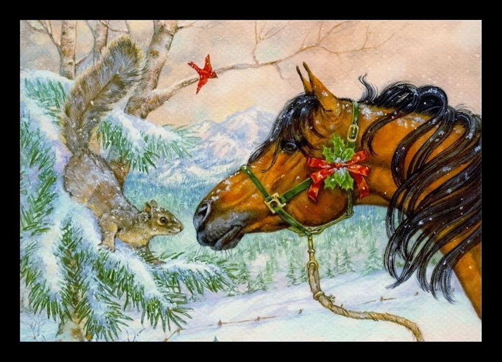 164-INV Donna Race BIRD CARDINAL HORSE SQUIRREL Christmas Greeting ...