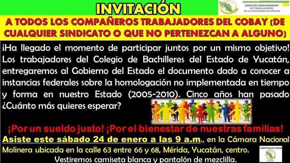Compañeros Trabajadores del Colegio de Bachilleres del Estado de Yucatán (COBAY)